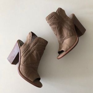 Vince Camuto open toe brown leather tribal booties